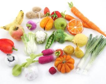 Au choix un fruit ou légume miniature en feutre - Au choix 1 fruit ou légume - Laine feutrée-laine cardée