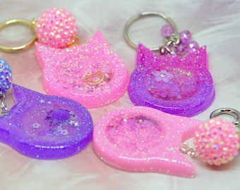 Cat Ear Resin Shaker Charms | Resin Shaker Charm | Waterfall Charm | Pink | Purple |Key Chain | Purse Charm