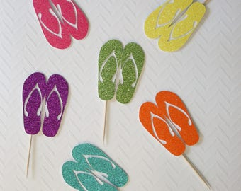 Flip flop cupcake toppers; Summer party, birthday party, pool party