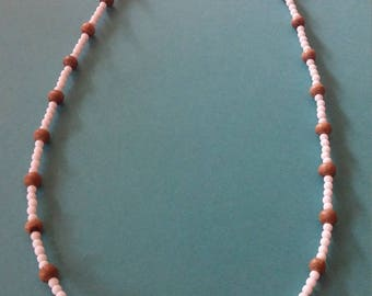 White Seed Bead and Wood Bead Necklace