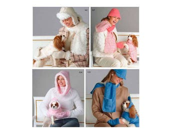 Dog Clothes, Hat, Coat, Jacket and Women's Hat, Gloves, Scarf by Elaine Heigl Sewing Pattern Uncut Simplicity 4316