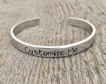 Custom Cuff Bracelet, Silver Personalized Bracelet, Customizable Bracelet, Stackable Bracelet, Personalized Gift for Her, Mothers Day