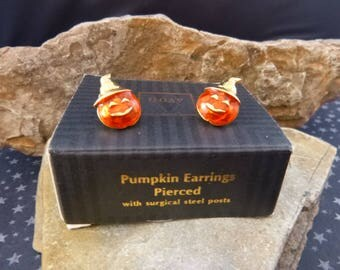 Orange Jack O Lantern Pierced Halloween Earrings | 1994 Avon Cute Pumpkin Post Earrings in Original Box Book Piece