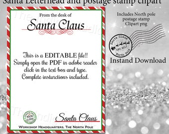 santa stationery letter from santa north pole logo
