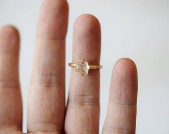 Size 5 14k Gold Diamond Ring, Raw Diamond Engagement Ring Solid Gold Engagement Ring, Rough Diamond Ring, Raw Diamond Ring, Avello Solitaire