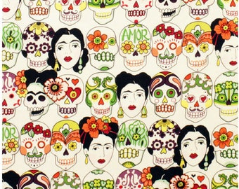 End of Bolt - 3/4 yard (27 inches) Gotas de Amor Frida 100% Cotton Fabric  in Tea Natural Cream Background by Alexander Henry