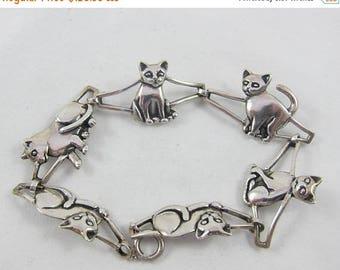 Spring Sale Signed Kabana Silver Sterling Cat/Kitten Link Bracelet