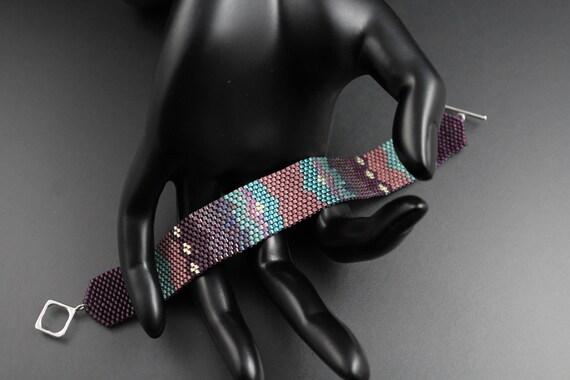 Southwestern...Native American Inspired.Peyote Woven.Miyuki Delica Seed Beads.Bracelet.Dusty Rose Purple Auqa.