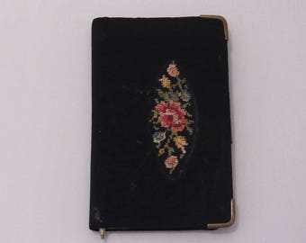 Vintage Cloth Tapestry Design Aide Memoire with Vanity Mirror 1950s Vintage Aide Memoire 1950s Vintage Carnet de bal 1950s Ladies Gift