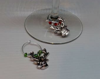Set of Two - Reindeer Wine Charms