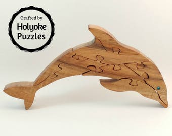 Dolphin wood puzzle in Maple - Wooden jigsaw puzzle - Dolphin puzzle - Hardwood puzzle