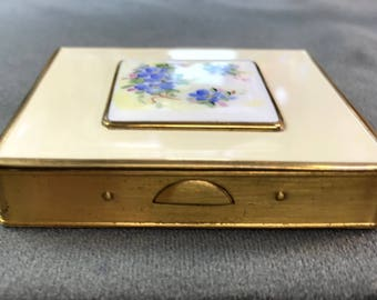 Pretty Enamel Pill Box With Blue Flowers. Free shipping