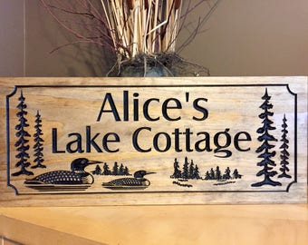 Family Lake House Signs, Welcome Signs, Loons. Ducks,  Wood carved Sign, Personalized wooden Sign, Cabin Sign, Rustic Cottage Signs