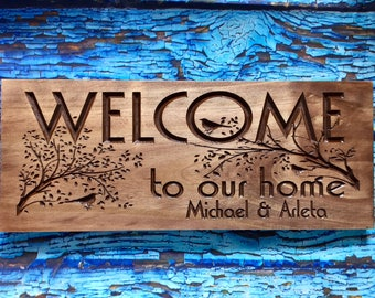Carved Wooden Welcome Sign Nature inspired bird and tree branch design Fathers Day Gift Idea  for nature bird lover Client Gift ideas