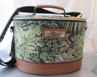 Vintage American Tourister Train Case Cosmetics Carry On Tapestry Luggage Bag