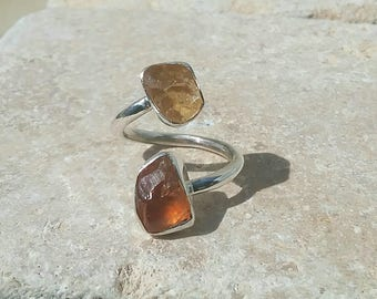 Two Stone Ring, Raw Citrine Silver Ring, Dual Gemstone Ring, Double Stone Ring, Adjustable Silver Ring, Citrine Ring