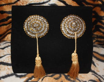 Gold and White/Clear Crystal Rhinestone Striped Burlesque Pasties with Swivel, Rotating Tassels