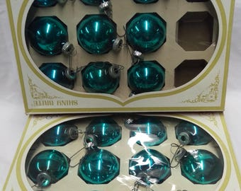 21 Aqua Green Shiny Brite Glass Ornaments