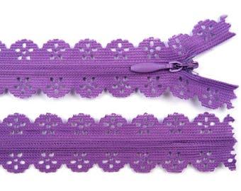 3 zipper 16 cm purple lace