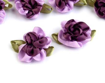 4 small violet purple two-tone satin flowers 22 x 35 mm