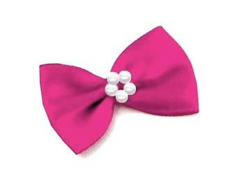 4 small satin ribbon bow pink and pearls