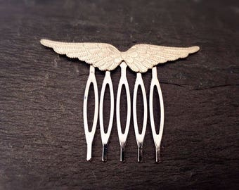 Mini matte hair comb silver etched brass wing