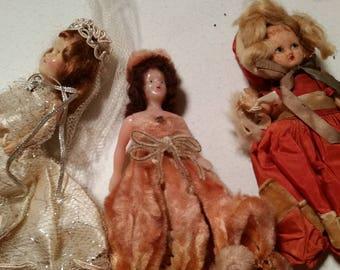 3 Vintage dolls Porcelain and plastic
