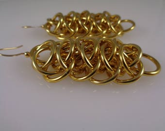 Gold Viperscale Chainmail Earrings, Viperscale Chainmaille Earrings, Chain Mail Earrings, Chain Maille Earrings