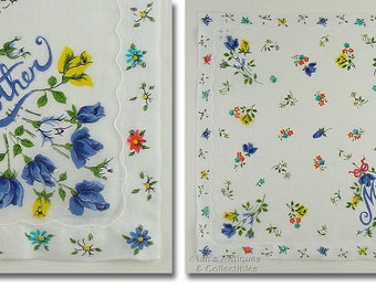 Blue Roses Vintage Handkerchief for Mother  (Inventory #M4653)