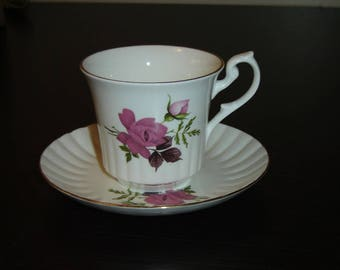 Newhall pink Rose ribbed cup and saucer VGU