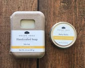 Baby Skincare Set. Calendula Chamomile Baby Soap. Baby Balm. Unscented Soap Bar. Natural Baby Gift. Herbal Soap for Babies. Gift Under 20