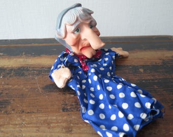 Vintage Hand Puppet Witch Puppet Theater Doll, Retro Puppet, Hand Puppet Fairy Tale @221