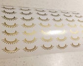 Spa Party Decals 24 Eyelash Sticker Sets Gold Eyelash Decals Spa Planner Sticker Bridal Shower Bag Decals Bachelorette Party Decal Cup Decal