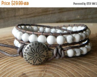 ON SALE White Turquoise - Beaded Leather Wrap Bracelet -