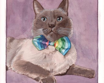 Custom Cat Portrait in Watercolor from Your Photo