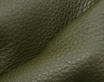 "NZ Deer Sale Deep Avocado Green Leather New Zealand Deer Hide 12"" x 12"" Pre-cut 3-3 1/2 ounces DE-66081 (Sec. 5,Shelf 7,D)"