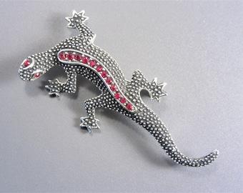 Vintage Emmons Red Rhinestone Lizard Brooch