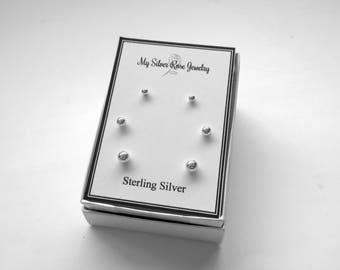 925 Sterling Silver Ball Post Earrings/3 Pair Set Ball Post Earrings 3 mm, 4 mm, 5 mm/Triple Earring Set/Little Girl Post Earrings/Cartilage