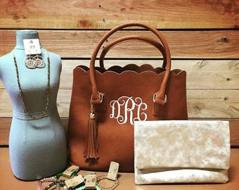 Monogrammed Scalloped Purse