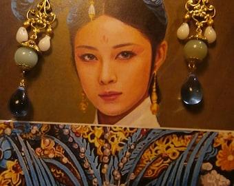 Sleeper earrings, boho chic, Asian-inspired, agate, Czech beads, OOAK