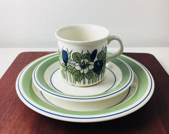 """Vintage Arabia Finland coffee cup with saucer and dessert plate named """"Krokus"""" by Esteri Tomula,1970s"""