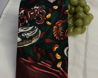 V377 Tabasco chili sauce silk men's neck tie , seafood theme,