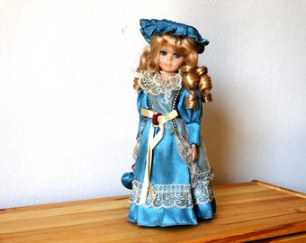 Retro Porcelain  Doll, Antique Doll, Victorian Old Doll, 1970 Doll, Vintage Toy, Blonde Porcelain Doll, Old Doll, Colllectible Doll, Doll