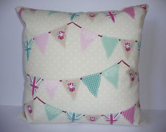 Pillow - Bunting  design feature cushion, complete with cushion pad, zip fastening