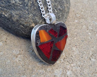 Red Heart Pendant Necklace Stained Glass Pendant Mosaic Heart Red Necklace Mosaic Necklace Pendant Heart Stained Glass Jewelry Pendant