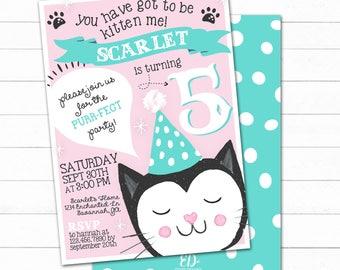 Cat Birthday Invitation, Cat Invite, Kitty Cat Party, Cat Birthday Party Invitation, Cats Birthday, Cool Cat Party, Kids party invitation
