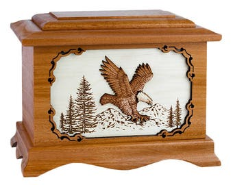 Mahogany Eagle Ambassador Wood Cremation Urn