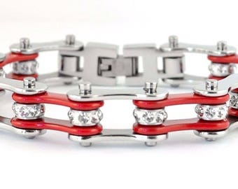 NEW Women's Ladies Motorcycle Stainless Steel Crystal Red Bike Chain Bracelet