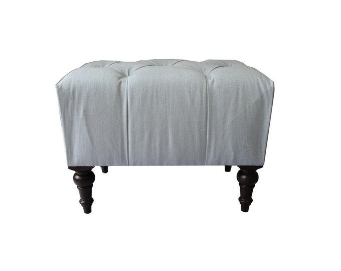 Tufted Upholstered Ottoman, 24x18, Linen Ottoman in Designer Fabric, Handmade Ottoman