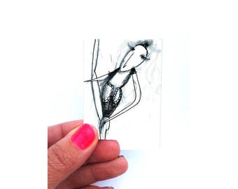 Small format art, affordable art, original miniature art, original atc wall art, original aceo art, ink drawing, aceo wall decor, surreal